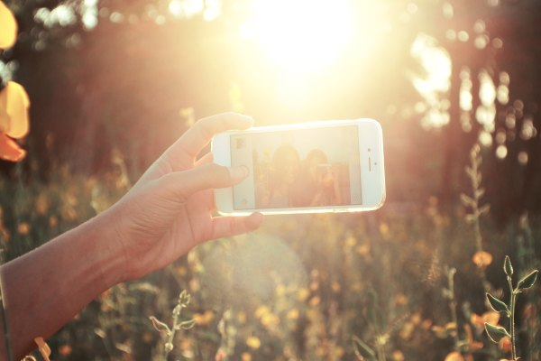 A hand taking a selfie amid flowers