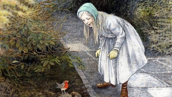 Mary from The Secret Garden looking at a robin bird