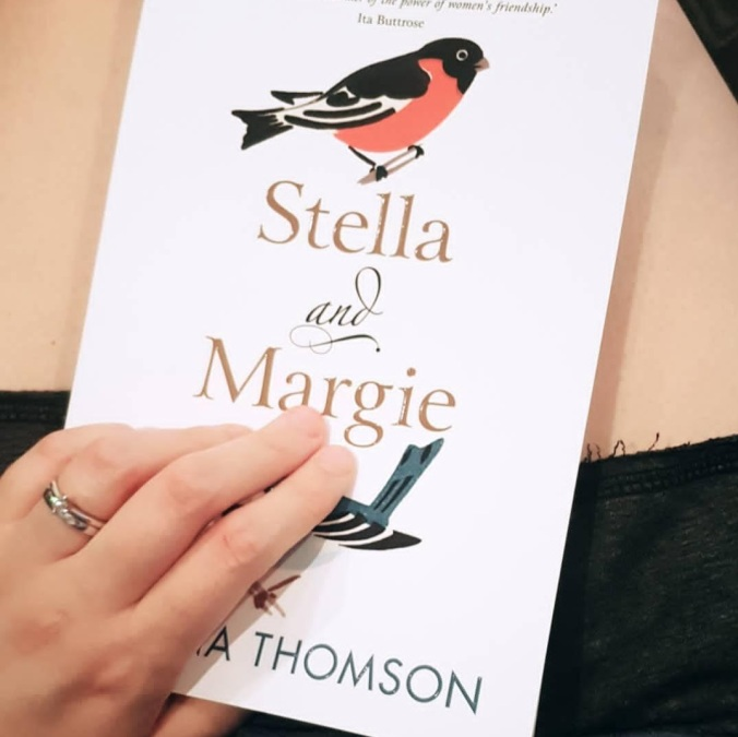 Close up of the cover of Stella and Margie, which has two birds