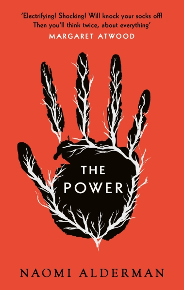the orange cover of The Power with a black hand on the front
